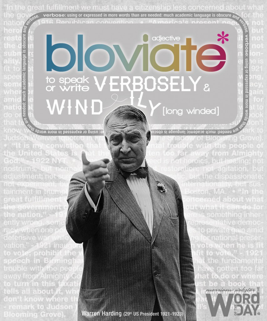 bloviate: to speak or write verbosely and windily