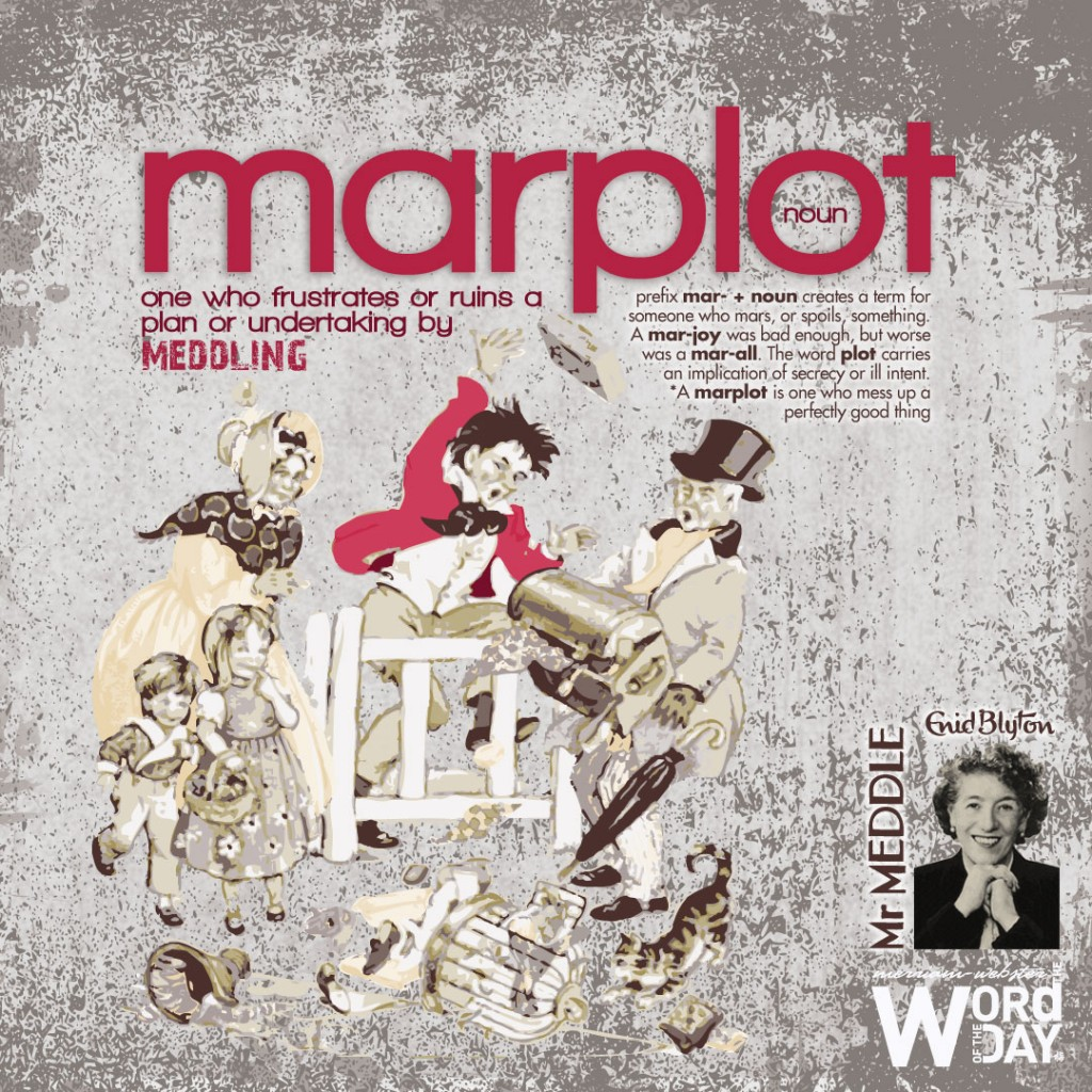 Marplot: one who frustrates or ruins a plan or undertaking by meddling.